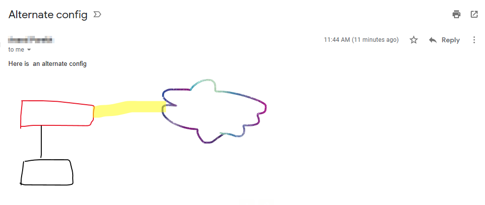 sample email with sketches using Draw feature of Windows Mail app