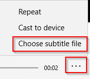 choosing a subtitle file when video is played using Windows 10 Photos app