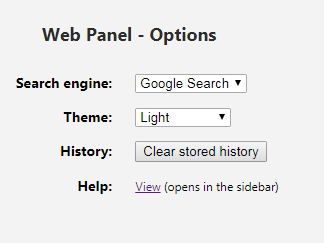 changing search providers, themes and deleting history in Web Panel add-on for Opera