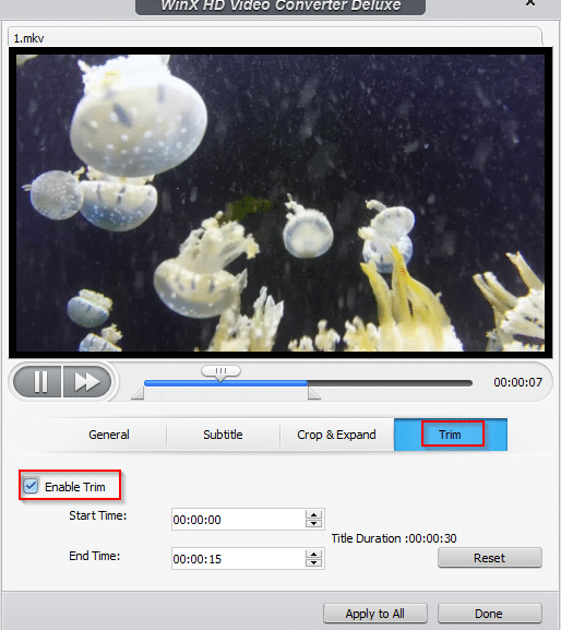 trimming existing videos in WinX HD Video Converter Deluxe