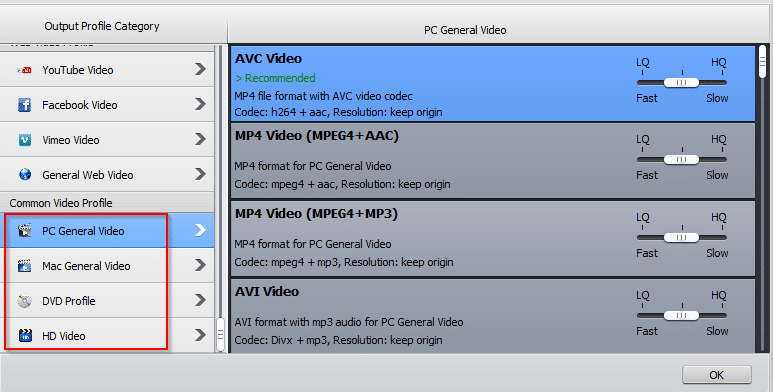 common video profiles in WinX HD Video Converter Deluxe