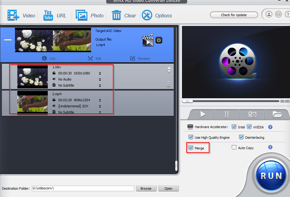 merging multiple videos using WinX HD Video Converter Deluxe