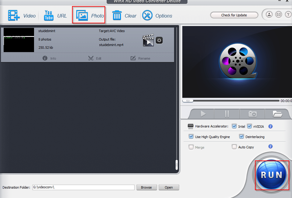 using the Photo option to make video slideshow from photos in WinX HD Video Converter Deluxe