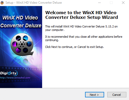 WinX HD Video Converter Deluxe Windows setup