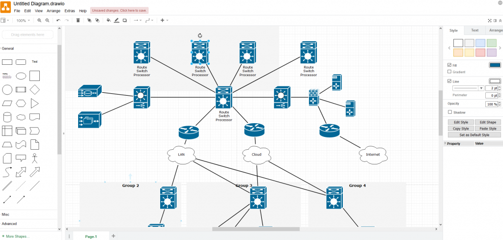 making a network diagram in draw.io