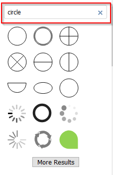 list of shapes based on search in draw.io