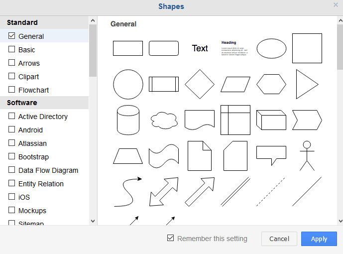 choosing additional shapes related to the type of drawings in draw.io