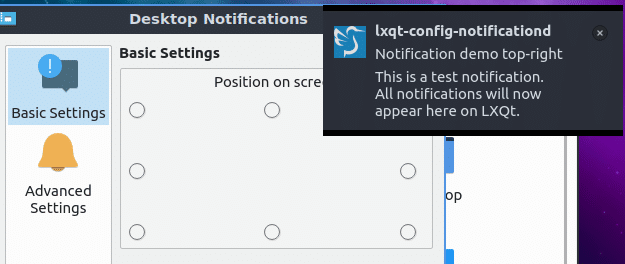 previewing where notifications will appear in Lubuntu 19.04