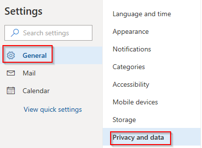 General settings in outlook.com