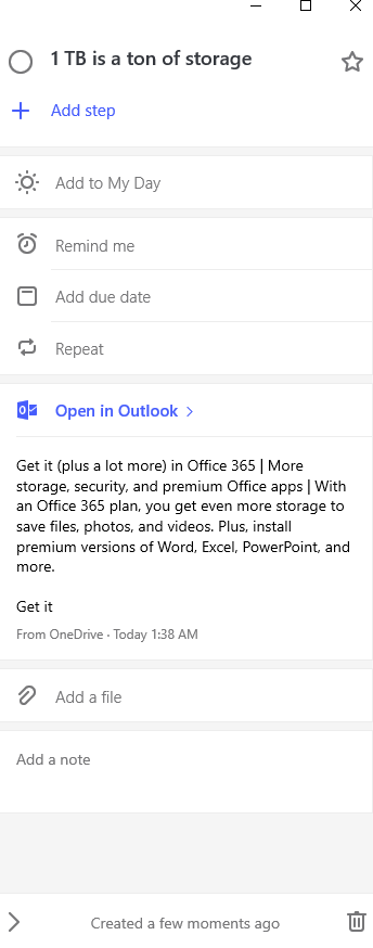 choosing different options for flagged emails from Outlook.com in  Microsoft To-Do app