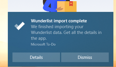 Wunderlist import to To-Do app complete