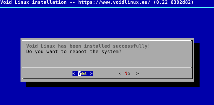 Void Linux installation completed