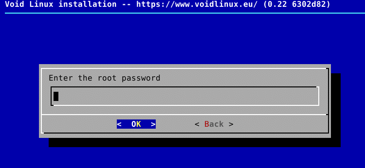 specifying a root password during Void Linux installation