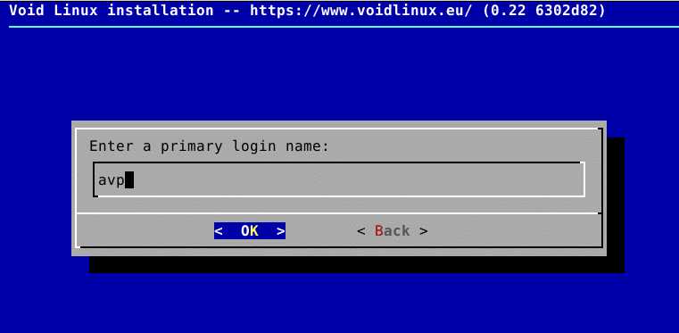 adding a user during Void Linux installation