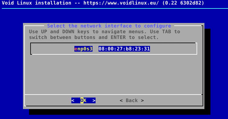 configuring network interfaces during Void Linux installation