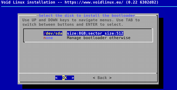 installing bootloader to hard drive during Void Linux installation