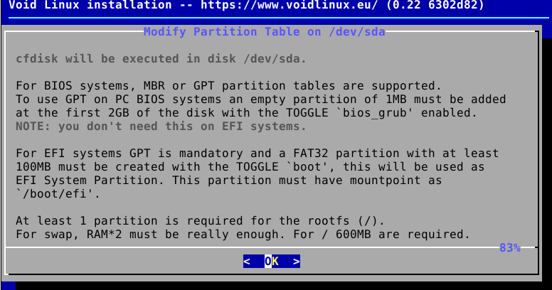 partitioning during Void Linux installation