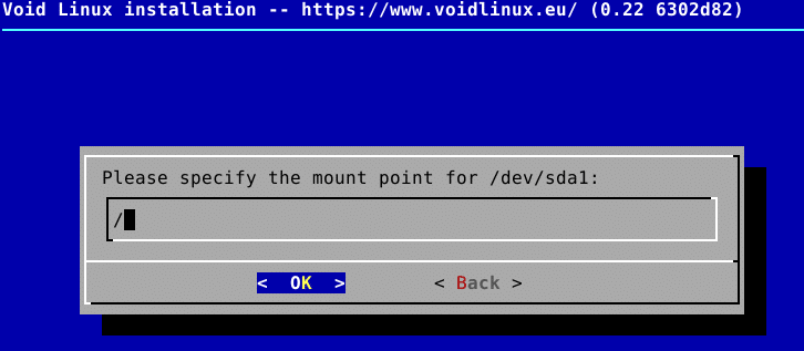 adding a mount point for partitions during Void Linux installation