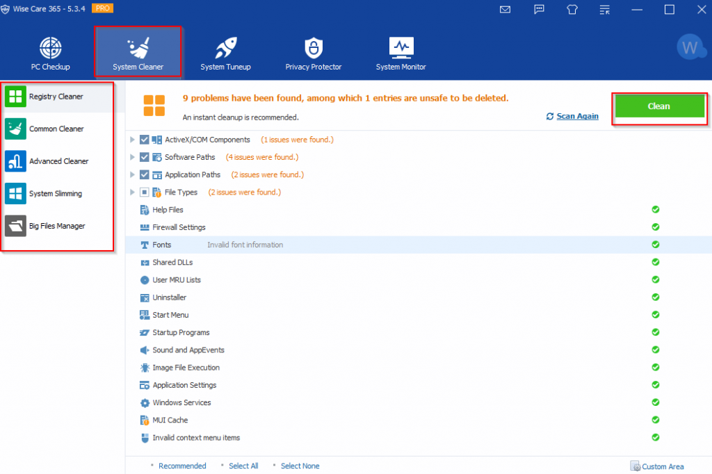 System Cleaner features in WiseCare365 Pro