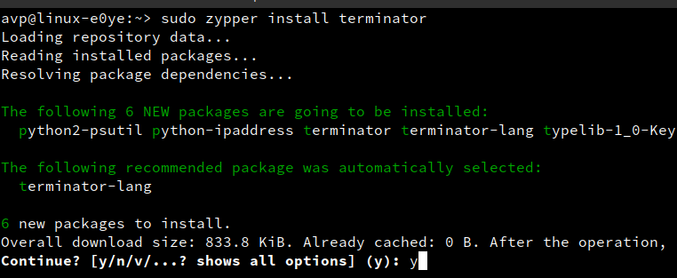 installing packages using zypper in openSUSE