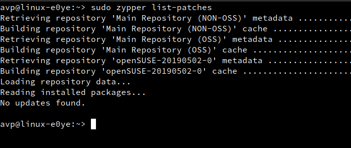 finding list of available patches using zypper