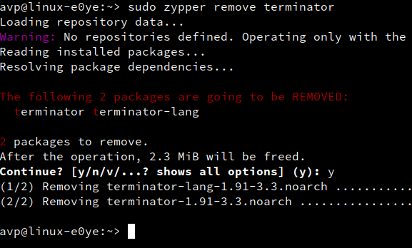 uninstalling packages using zypper
