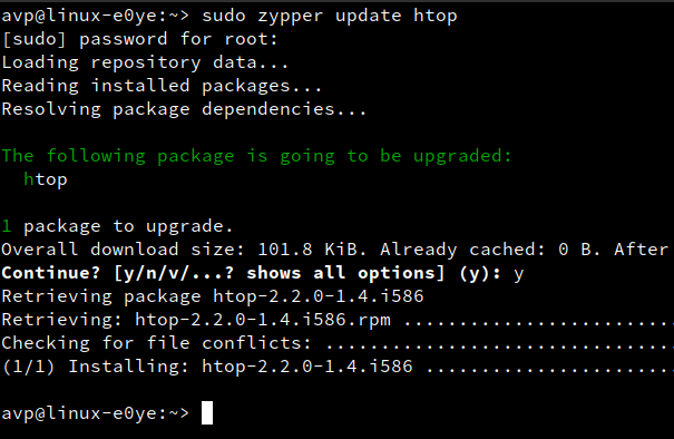 updating individual packages using zypper