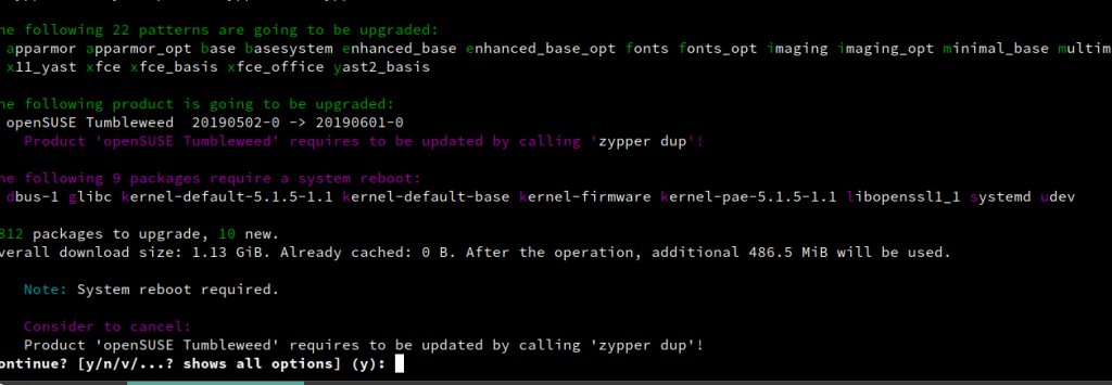 updating existing installed packages in openSUSE using zypper