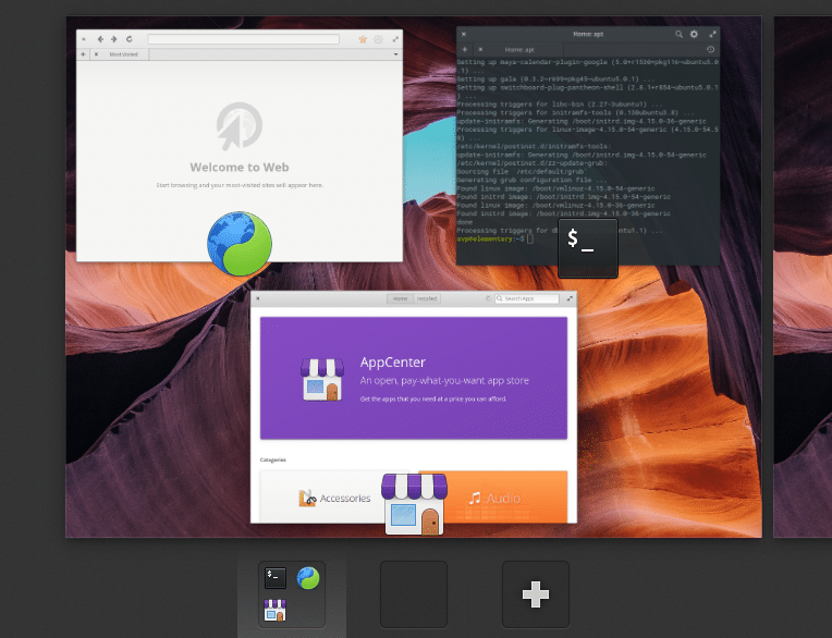a list of running apps using multitasking view in elementary OS