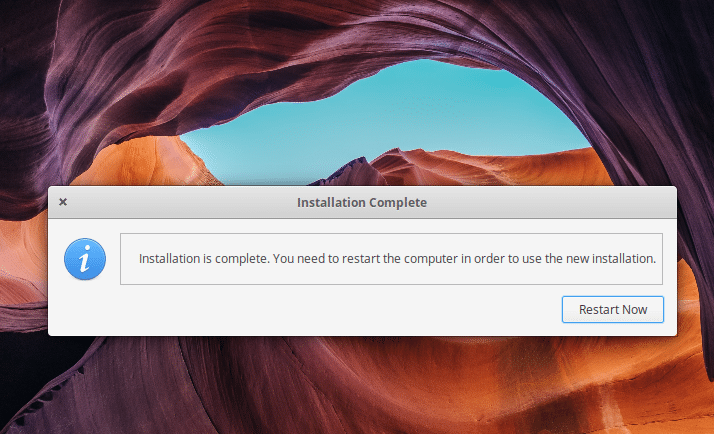 elementary OS installation complete