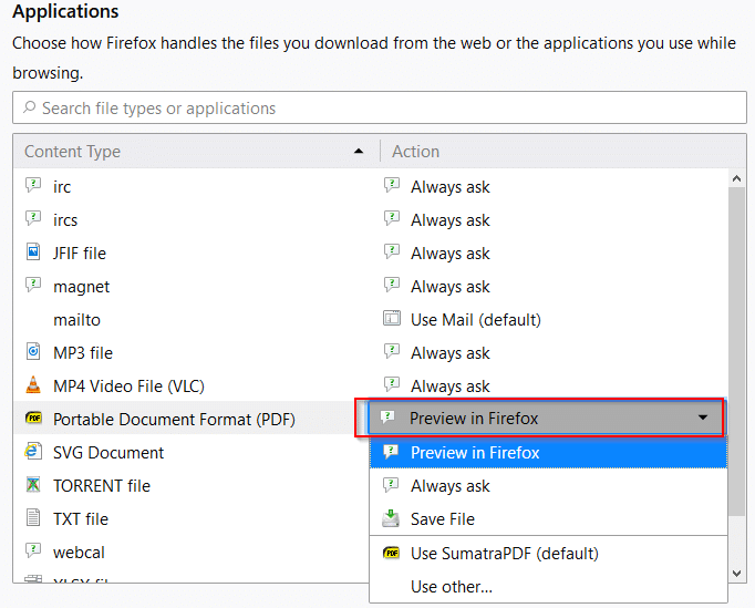 Applications settings for different file types in Firefox