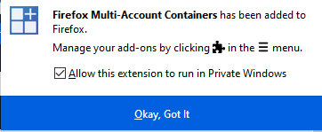 enable Firefox Multi-Account Containers to run in private window