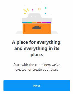 Firefox Multi-Account Containers welcome tour
