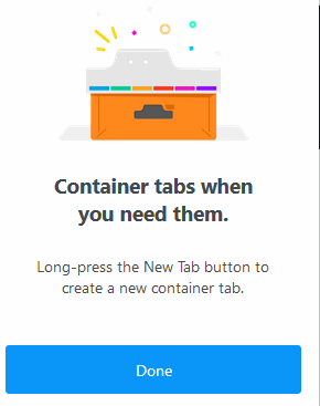 welcome tour complete for Firefox Multi-Account Containers add-on