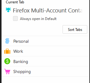 List of default containers in Firefox Multi-Account Containers add-on
