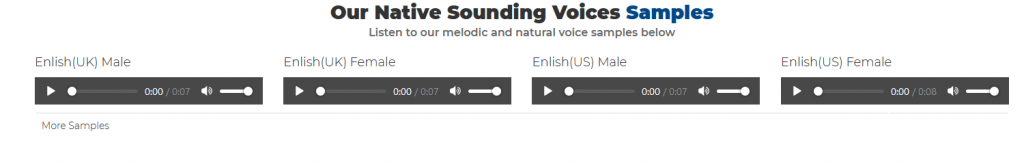 a list of voice samples in different languages when using Free TTS