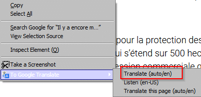 translate text and sentences from web pages using To Google Translate