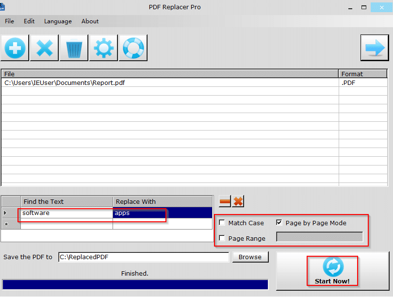 choosing words to be replaced in PDF documents using PDF Replacer Pro