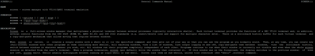 man command for screen