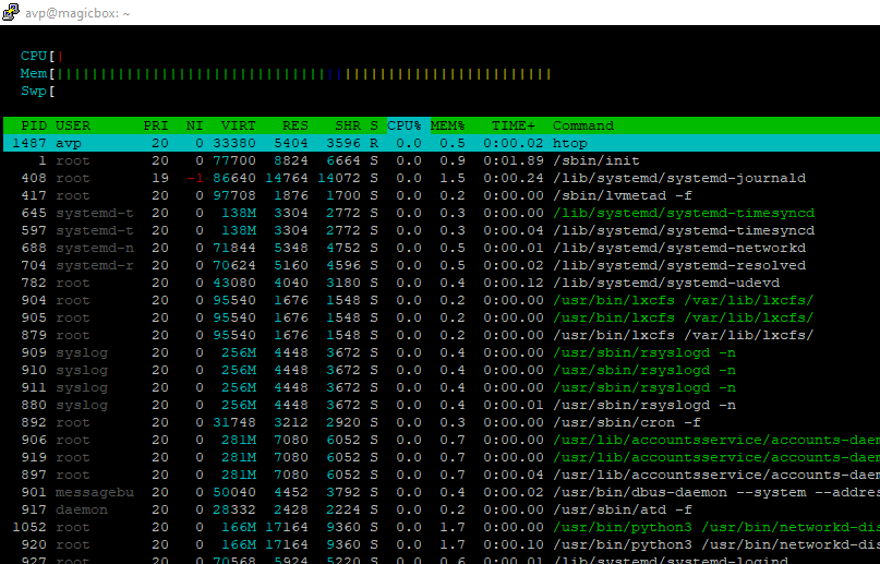 a screen running htop command