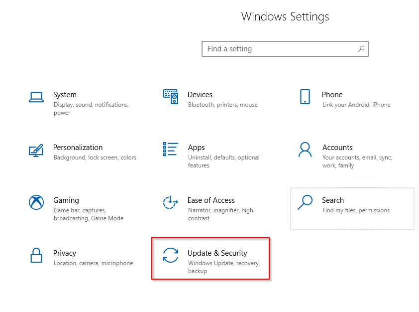 accessing windows 10 update settings
