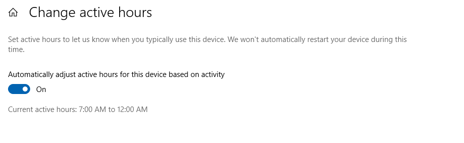 automatically set active hours in windows 10 after the 1903 update