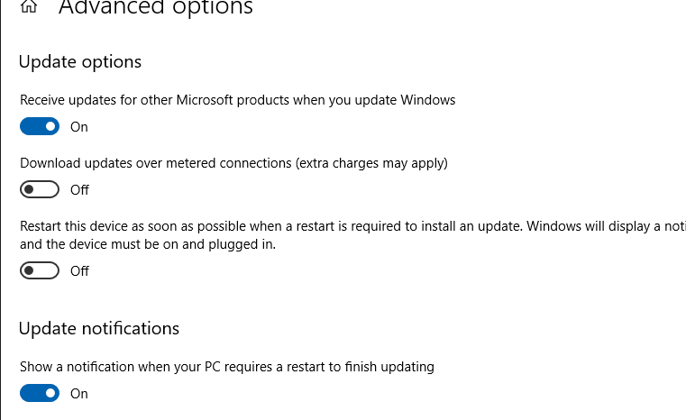 configuring advanced options for windows 10 updates