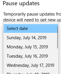 manually selecting pause date for windows 10 updates