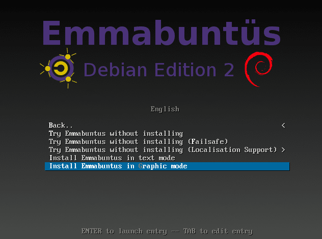 Emmabuntüs ISO boot up screen
