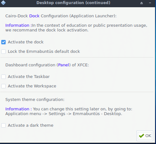 choosing dock and Xfce options in Emmabuntüs