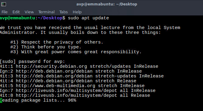 using apt to update system software in Emmabuntüs from Linux command line