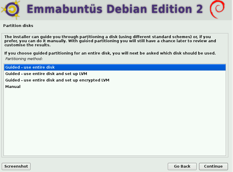 choosing a partitioning scheme during Emmabuntüs installation