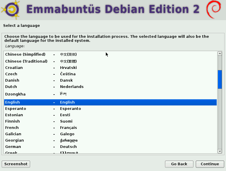 choosing system language during Emmabuntüs installation