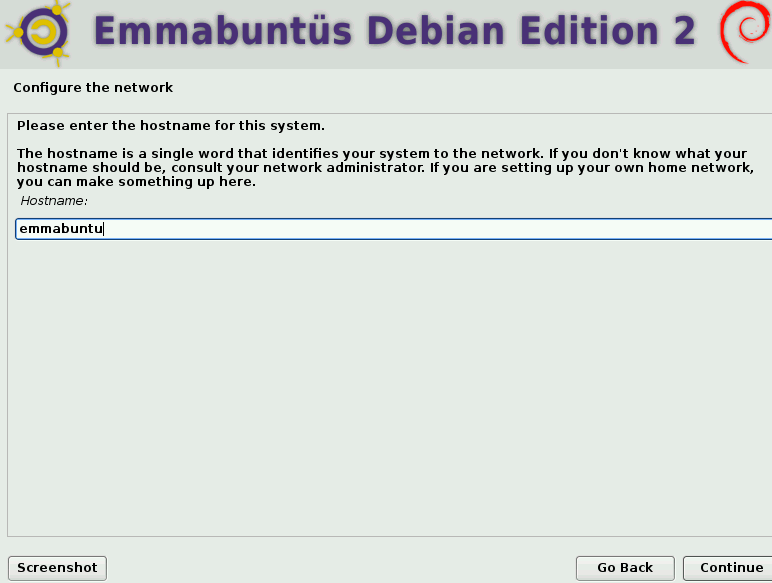 configuring a hostname during Emmabuntüs installation
